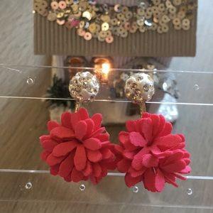 Magenta Flower Hook Drop Earrings
